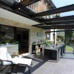 Auvent toiture verre
